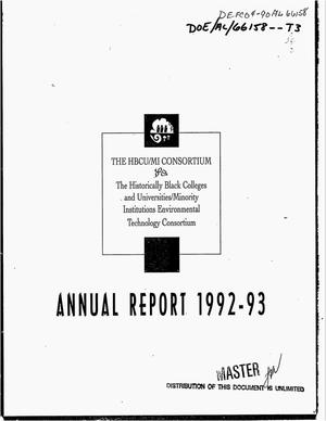 Primary view of object titled 'The Historically Black Colleges and Universities/Minority Institutions Environmental Technology Consortium annual report, 1992--1993'.