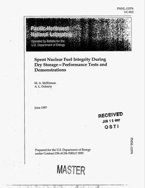 Primary view of object titled 'Spent nuclear fuel integrity during dry storage - performance tests and demonstrations'.