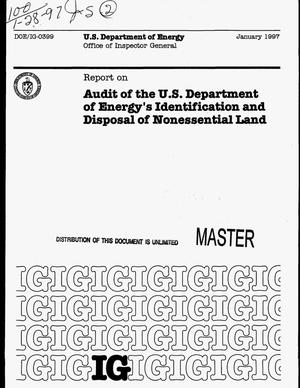Primary view of object titled 'Report on audit of the US Department of Energy`s identification and disposal of nonessential land'.