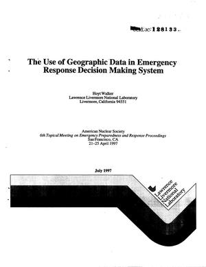 Primary view of object titled 'Use of geographic data in emergency response decision making system'.