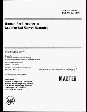 Primary view of object titled 'Human performance in radiological survey scanning'.