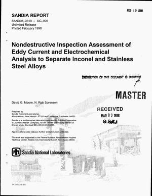 Primary view of object titled 'Nondestructive inspection assessment of eddy current and electrochemical analysis to separate inconel and stainless steel alloys'.