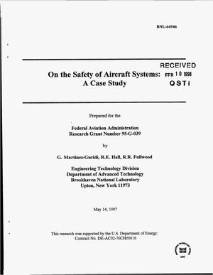 Primary view of object titled 'On the safety of aircraft systems: A case study'.