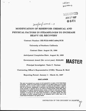 Primary view of object titled 'Modification of reservoir chemical and physical factors in steamfloods to increase heavy oil recovery. [Quarterly report], January 1--March 31, 1997'.