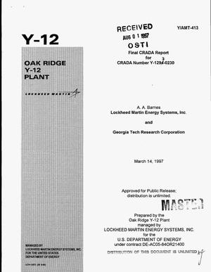 Primary view of object titled '[Technical assistance to Georgia industries]. Final CRADA report for CRADA Number Y-1293-0230'.