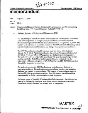 Primary view of object titled 'Department of Energy`s Uranium Enrichment Decontamination and Decommissioning Fund fiscal year 1997 financial statement audit'.