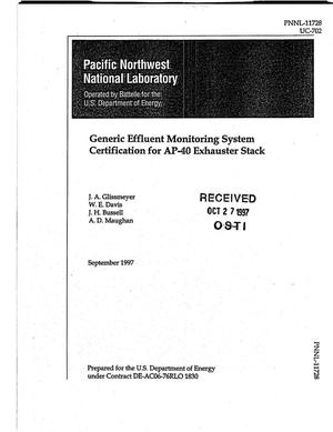 Primary view of object titled 'Generic effluent monitoring system certification for AP-40 exhauster stack'.