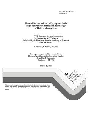 Primary view of Thermal decomposition of polystyrene in the high temperature fabrication technology of hollow microspheres. Revision 1