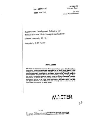 Primary view of object titled 'Research and development related to the Nevada Nuclear Waste Storage Investigations: Progress report, October 1--December 31, 1984'.