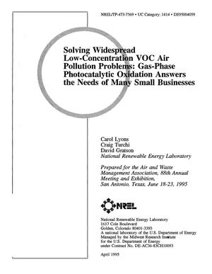Primary view of object titled 'Solving widespread low-concentration VOC air pollution problems: Gas-phase photocatalytic oxidation answers the needs of many small businesses'.