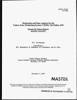 Primary view of object titled 'Monitoring and data analysis for the Vadose Zone Monitoring System (VZMS), McClellan AFB. Quarterly status report, August 15, 1997--November 15, 1997'.