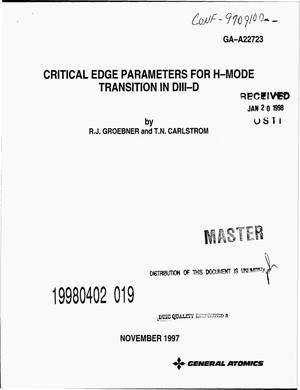 Primary view of object titled 'Critical edge parameters for H-mode transition in DIII-D'.