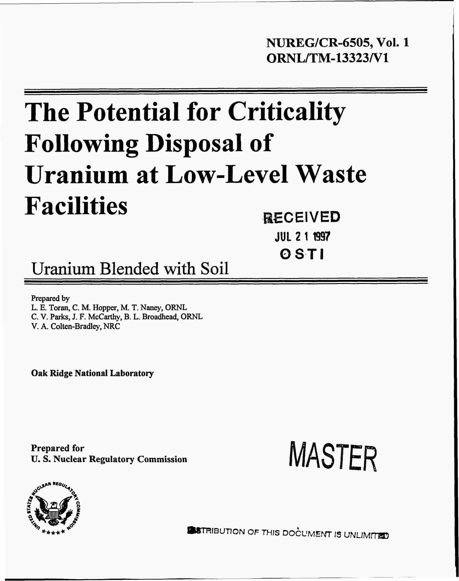 The potential for criticality following disposal of uranium at low-level waste facilities: Uranium blended with soil                                                                                                      [Sequence #]: 1 of 139