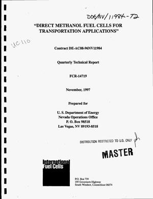 Primary view of object titled 'Direct methanol fuel cells for transportation applications. Quarterly technical report, April--June 1997'.