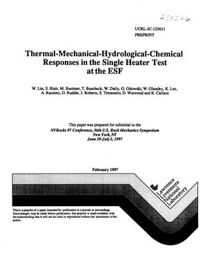 Primary view of object titled 'Thermal-mechanical-hydrological-chemical responses in the single heater test at the ESF'.