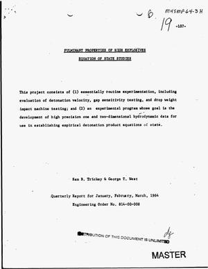 Primary view of object titled 'Fulminant properties of high explosives equation of state studies. Quarterly report, January--March 1964'.
