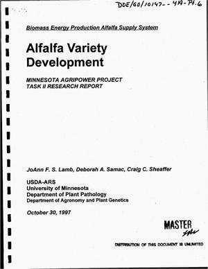 Primary view of object titled 'Alfalfa variety development. Minnesota Agripower Project, Task II research report'.
