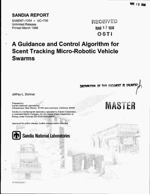 Primary view of object titled 'A guidance and control algorithm for scent tracking micro-robotic vehicle swarms'.
