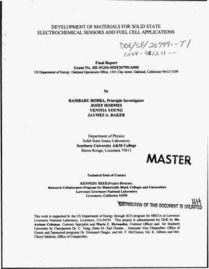 Primary view of object titled 'Development of materials for solid state electrochemical sensors and fuel cell applications. Final report, September 30, 1995--December 30, 1995'.