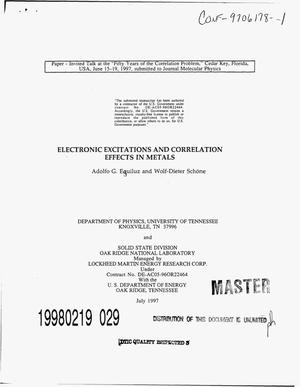 Primary view of object titled 'Electronic excitations and correlation effects in metals'.