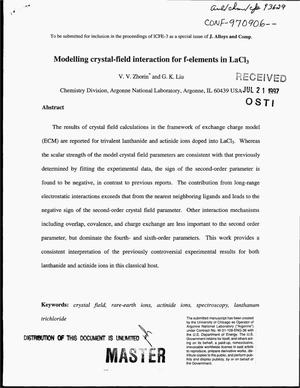 Primary view of object titled 'Modelling crystal-field interaction for f-elements in LaCl{sub 3}'.