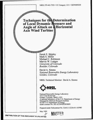 Primary view of object titled 'Techniques for the determination of local dynamic pressure and angle of attack on a horizontal axis wind turbine'.