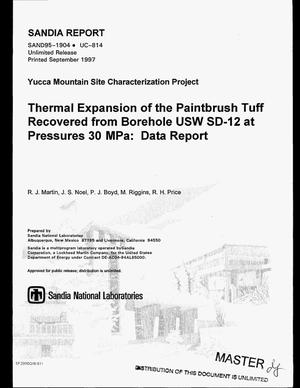 Primary view of object titled 'Thermal expansion of the Paintbrush tuff recovered from borehole USW SD-12 at pressures 30 MPa: Data report'.