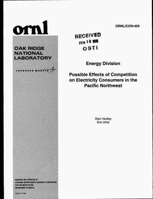 Primary view of object titled 'Possible effects of competition on electricity consumers in the Pacific Northwest'.
