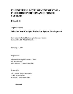 Primary view of object titled 'Engineering development of coal-fired high performance power systems, Phase 2: Selective non-catalytic reduction system development'.