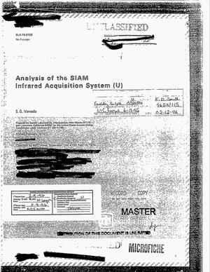 Primary view of object titled 'Analysis of the SIAM Infrared Acquisition System'.