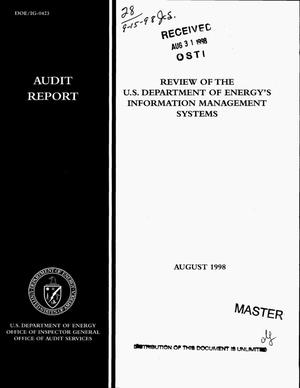 Primary view of object titled 'Review of the US Department of Energy`s Information Management Systems'.