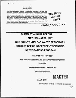Primary view of object titled 'Nye County nuclear waste repository project office independent scientific investigations program. Summary annual report, May 1996--April 1997'.