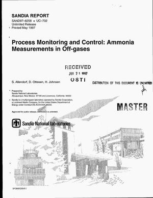 Primary view of object titled 'Process monitoring and control: Ammonia measurements in off-gases'.