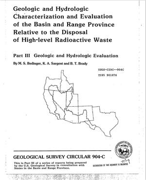 Primary view of object titled 'Geologic and hydrologic characterization and evaluation of the Basin and Range Province relative to the disposal of high-level radioactive waste. Part III. Geologic and hydrologic evaluation'.