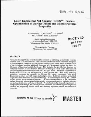 Primary view of object titled 'Laser engineered net shaping (LENS{trademark}) process: Optimization of surface finish and microstructural properties'.