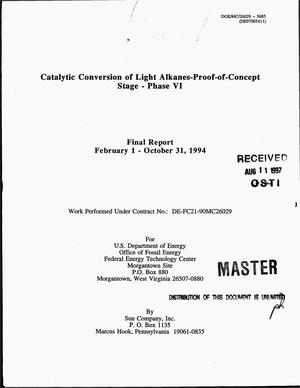 Primary view of object titled 'Catalytic conversion of light alkanes-proof-of-concept stage -- Phase 6. Final report, February 1--October 31, 1994'.