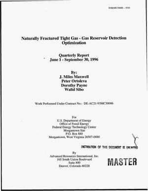 Primary view of object titled 'Naturally fractured tight gas - gas reservoir detection optimization. Quarterly report, June 1, 1996--September 30, 1996'.