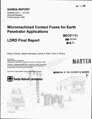 Primary view of object titled 'Micromachined contact fuses for earth penetrator applications. LDRD final report'.