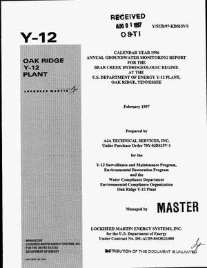 Primary view of object titled 'Calandar year 1996 annual groundwater monitoring report for the Bear Creek Hydrogeologic Regime at the US Department of Energy Y-12 Plant, Oak Ridge, Tennessee'.