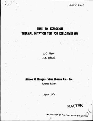 Primary view of object titled 'Time-to-explosion thermal initiation test for explosives'.