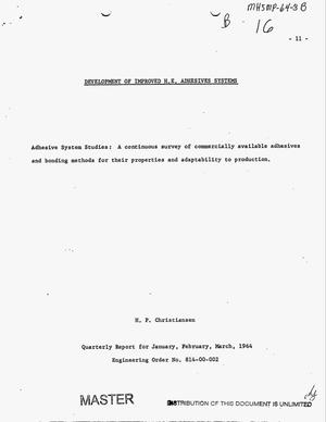 Primary view of object titled 'Development of improved H.E. adhesives systems. Quarterly report, January, February, March 1964'.
