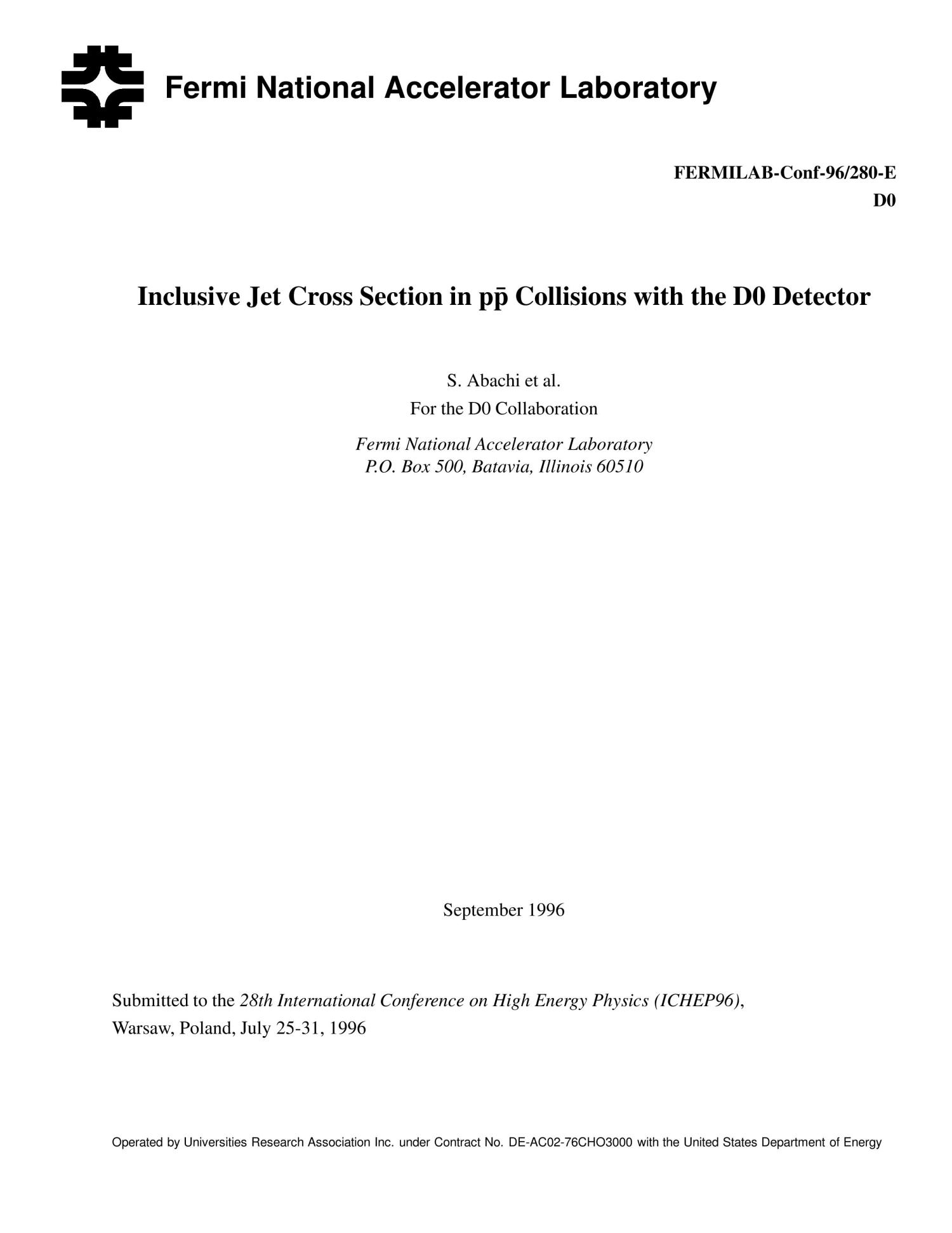 Inclusive jet cross section in p{bar p} collisions with the D0 detector                                                                                                      [Sequence #]: 1 of 10