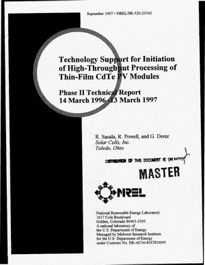 Primary view of object titled 'Technology support for initiation of high-throughput processing of thin-film CdTe PV modules. Phase II technical report, March 14, 1996--March 13, 1997'.