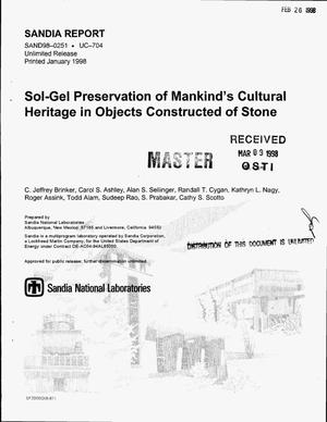 Primary view of object titled 'Sol-gel preservation of mankind`s cultural heritage in objects constructed of stone'.