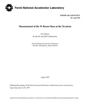 Primary view of object titled 'Measurement of the W boson mass at the Tevatron'.