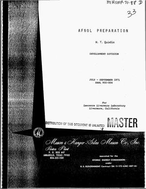 Primary view of object titled 'AFNOL preparation. Quarterly report, July--September, 1971'.