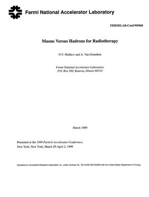 Primary view of object titled 'Muons versus hadrons for radiotherapy'.