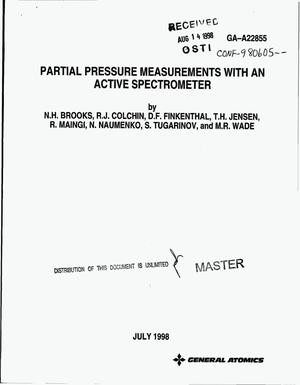 Primary view of object titled 'Partial pressure measurements with an active spectrometer'.