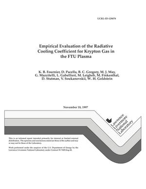 Primary view of object titled 'Empirical evaluation of the radiative cooling coefficient for krypton gas in the FTU plasma'.