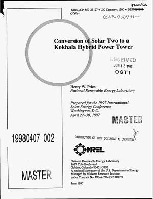 Primary view of object titled 'Conversion of Solar Two to a Kokhala hybrid power tower'.